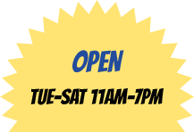 OPEN 7 DAYS: Mon/Tues 11-9pm, Wed/Sun 11-10pm